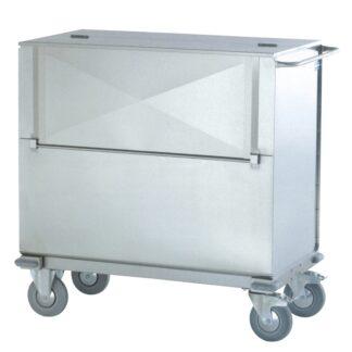 Carrello container trasporto sacchi con anta a ribalta in acciaio INOX AISI 304 satinato